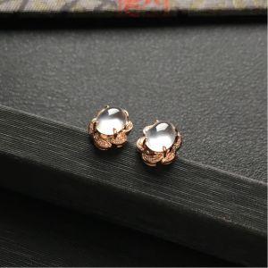 冰种无色镶玫瑰金钻石耳钉一对