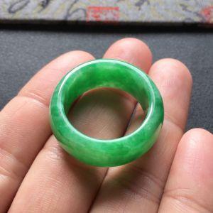 糯冰种翠色指环/平安环挂件