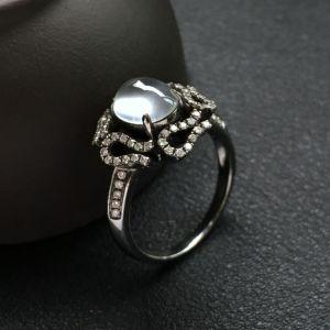 玻璃种无色镶18k金钻石花型戒指