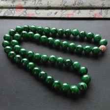 糯冰种癣加绿圆珠项链