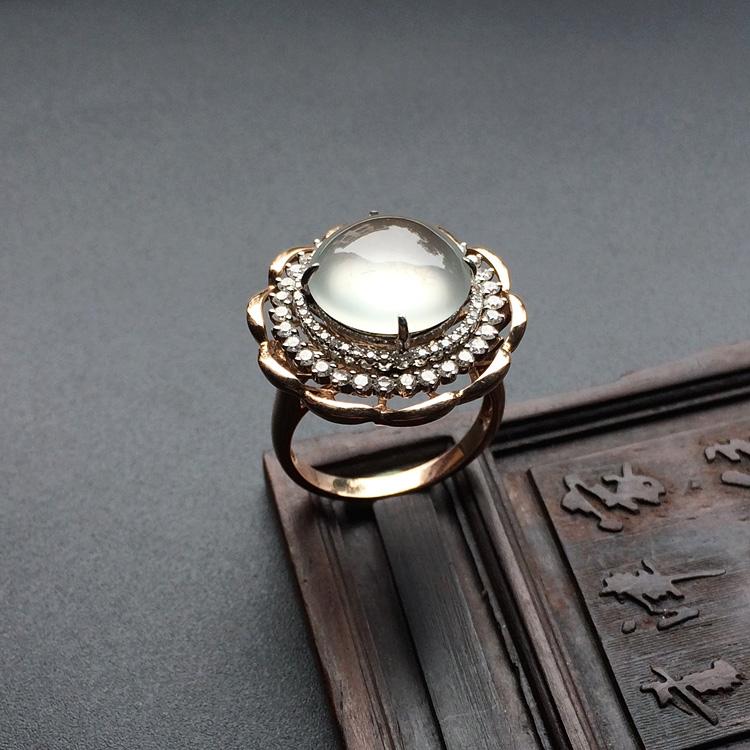 冰玻种无色镶白金/玫瑰金钻石戒指第3张