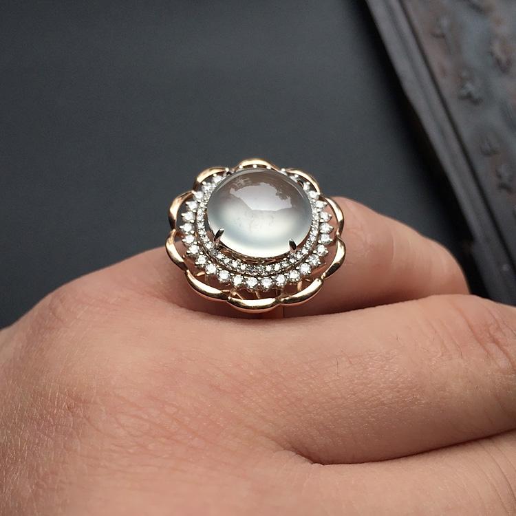 冰玻种无色镶白金/玫瑰金钻石戒指第7张