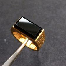 镶黄18K金冰种墨翠方形戒指