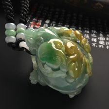 糯冰种晴水/黄翡龙龟手把件/小摆件