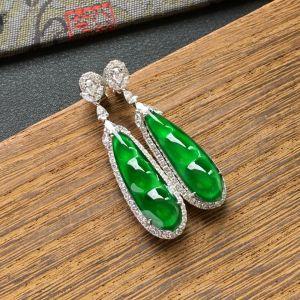 冰种阳绿镶白金钻石四季豆耳坠一对