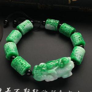 糯冰种飘翠貔貅手链