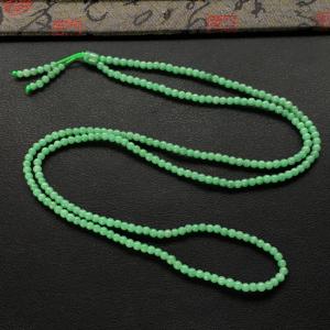 糯冰种豆绿小米珠项链/手串