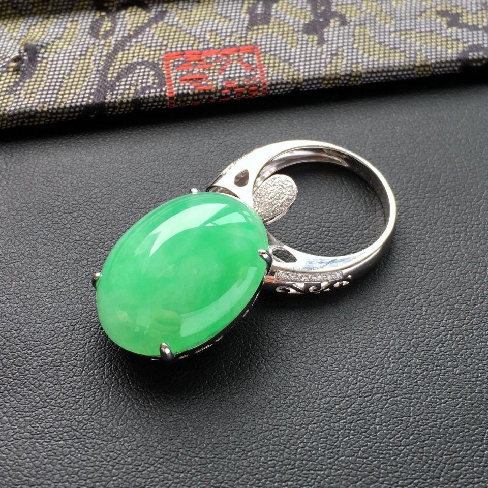 糯冰种绿晴水镶白金钻石戒指/胸坠两用