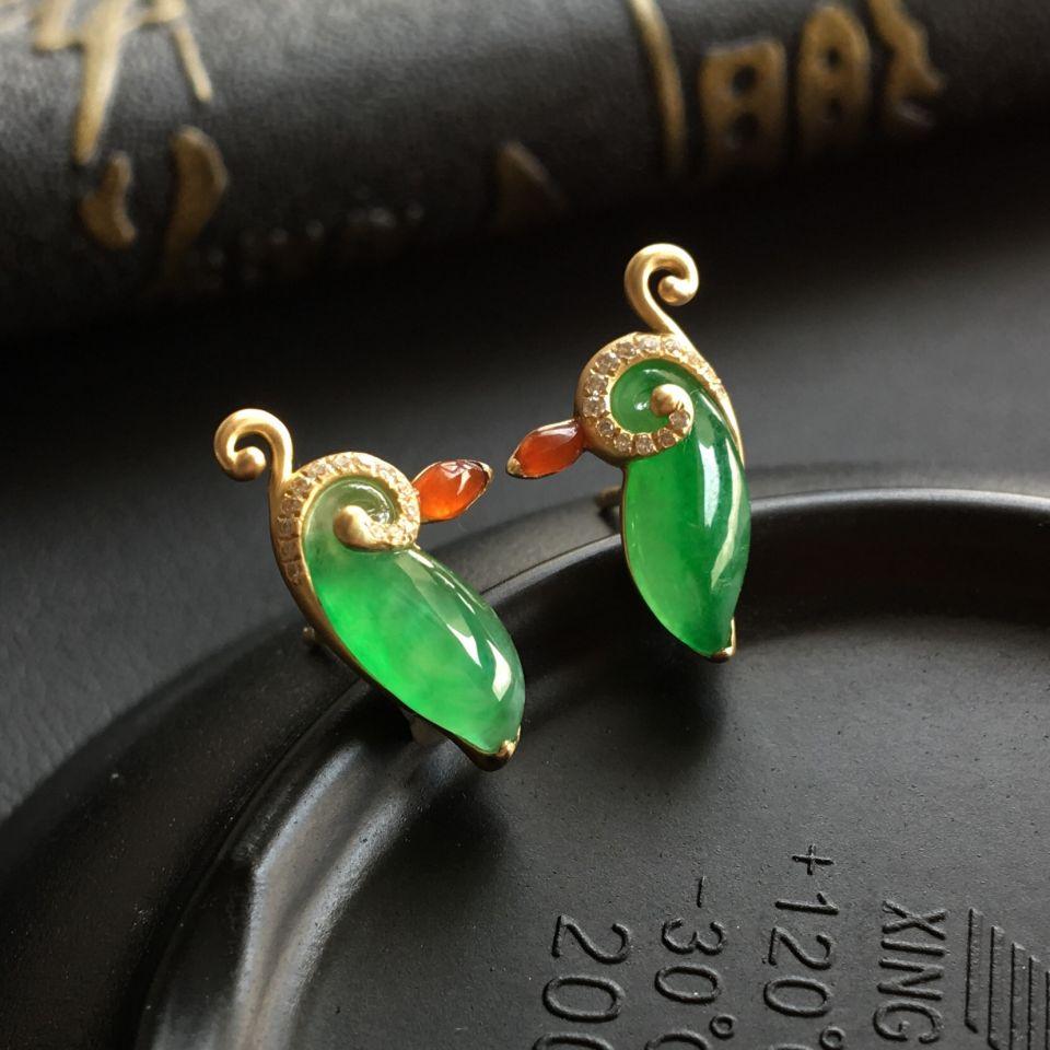 冰种绿晴水镶黄18k金钻石耳钉