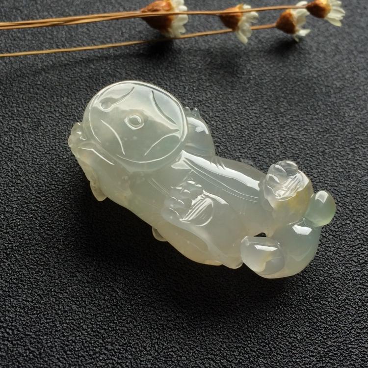 冰种淡黄翡貔貅挂件
