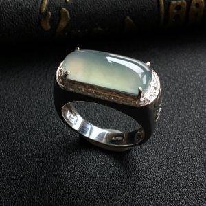 冰种晴水镶白金钻石马鞍戒指(男戒)