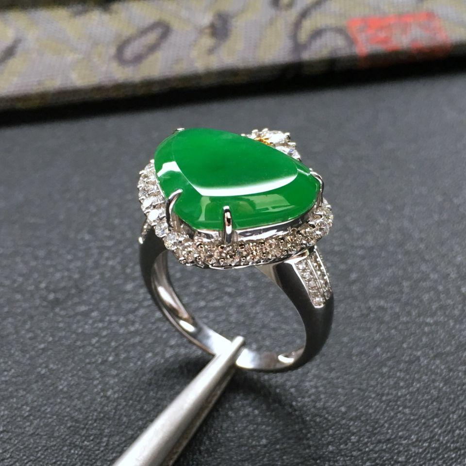 糯冰种阳绿镶白金钻石心形戒指/吊坠两用