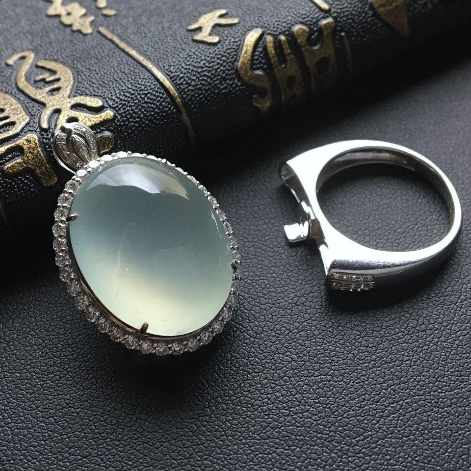冰种晴水镶白金钻石胸坠/戒指(两用)