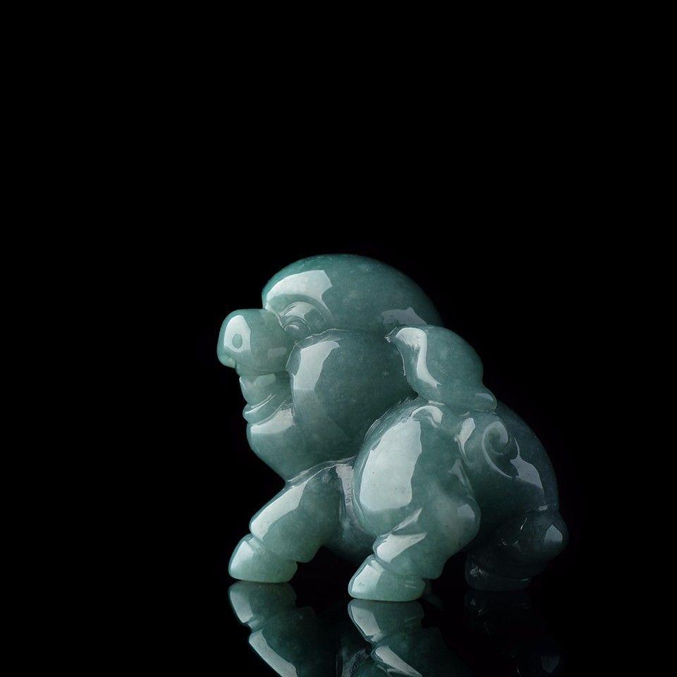 糯冰种蓝水色小福猪翡翠小摆件/手玩件