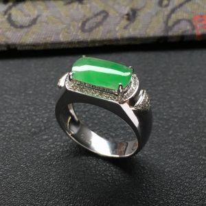 冰种绿晴水镶白金钻石马鞍戒指