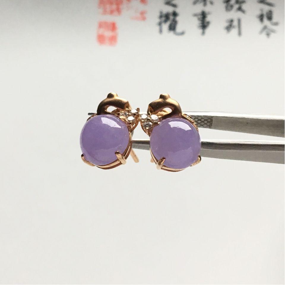 镶玫瑰金钻石糯冰种紫罗兰耳钉第3张