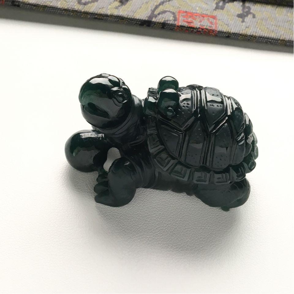 细糯种蓝水长寿龟摆件