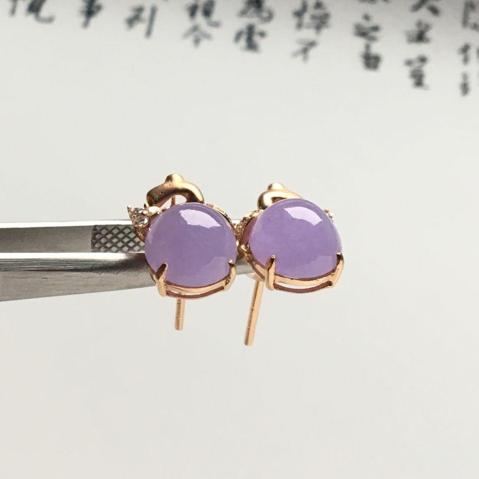 镶玫瑰金钻石糯冰种紫罗兰耳钉第1张