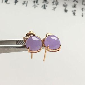 镶玫瑰金钻石糯冰种紫罗兰耳钉