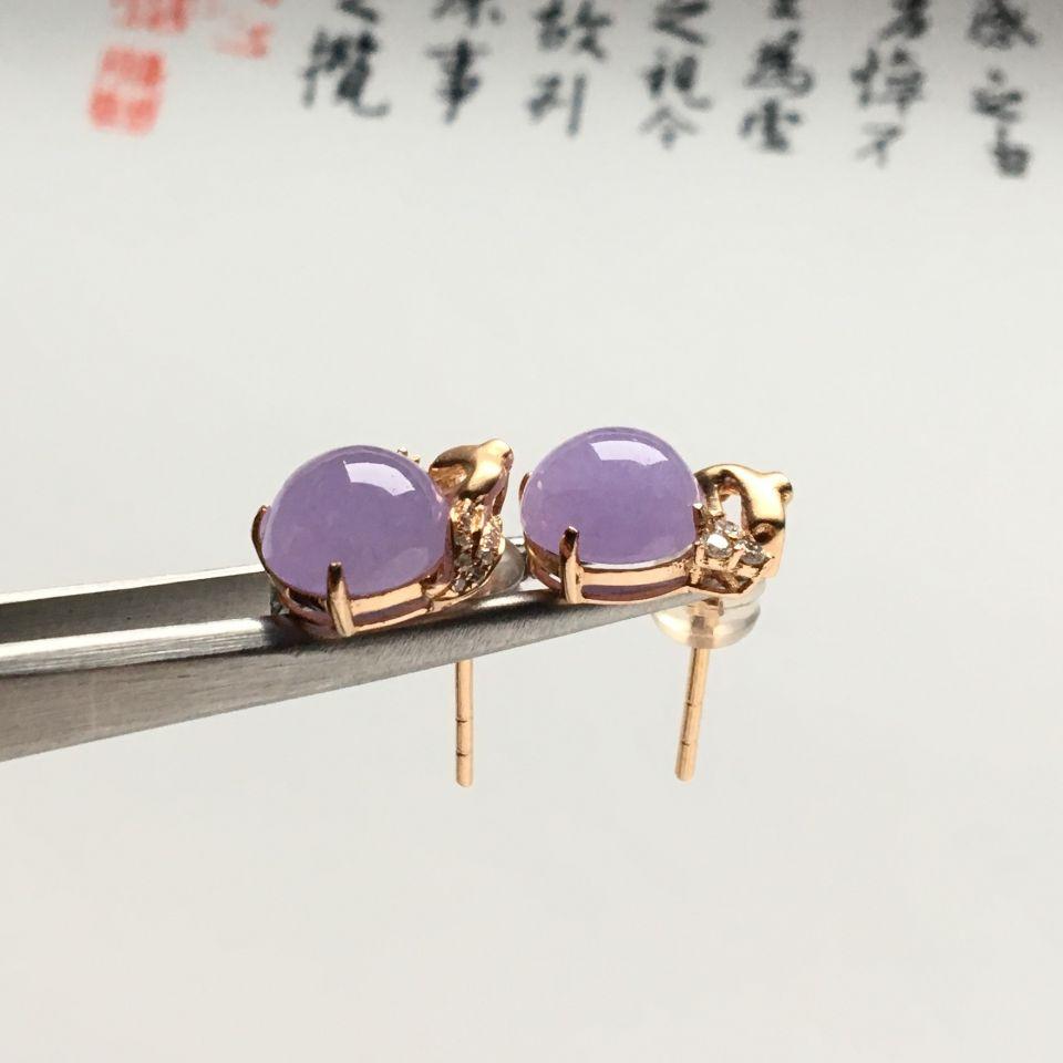 镶玫瑰金钻石糯冰种紫罗兰耳钉第2张
