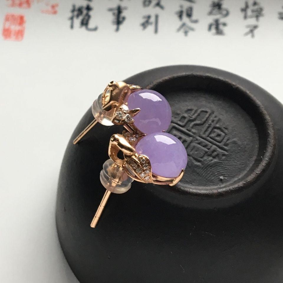 镶玫瑰金钻石糯冰种紫罗兰耳钉第4张
