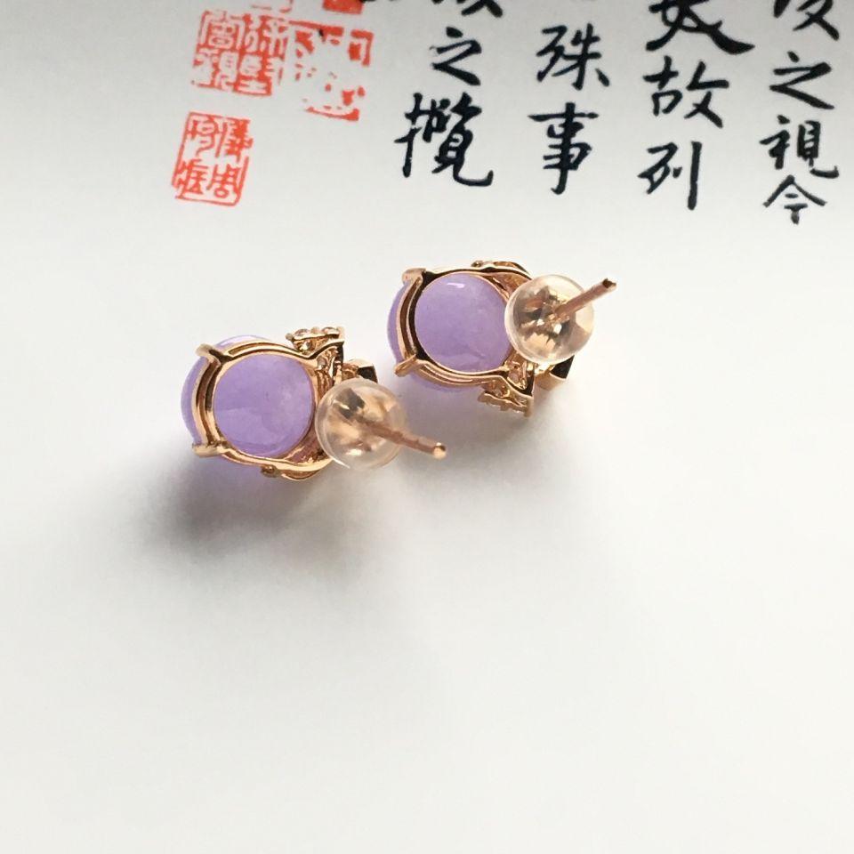 镶玫瑰金钻石糯冰种紫罗兰耳钉第5张