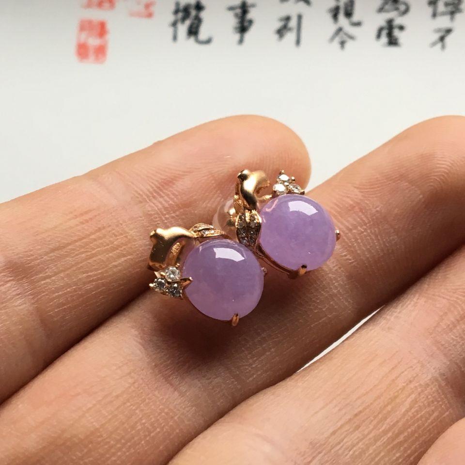 镶玫瑰金钻石糯冰种紫罗兰耳钉第6张