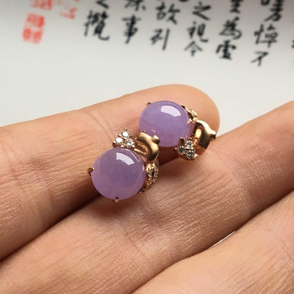 镶玫瑰金钻石糯冰种紫罗兰耳钉第7张