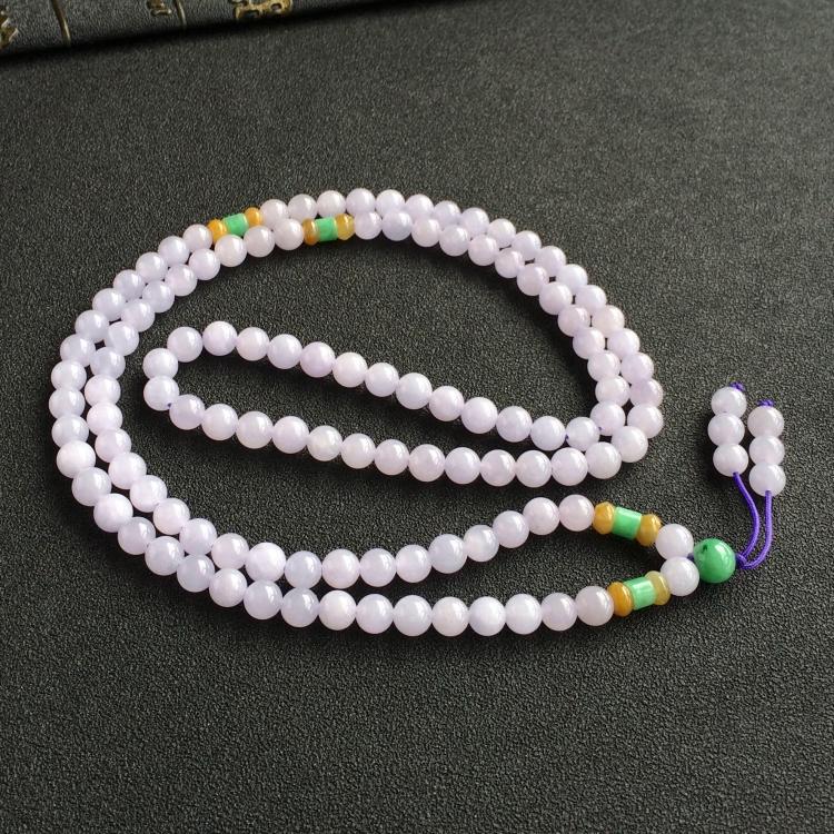 糯冰种紫罗兰圆珠项链