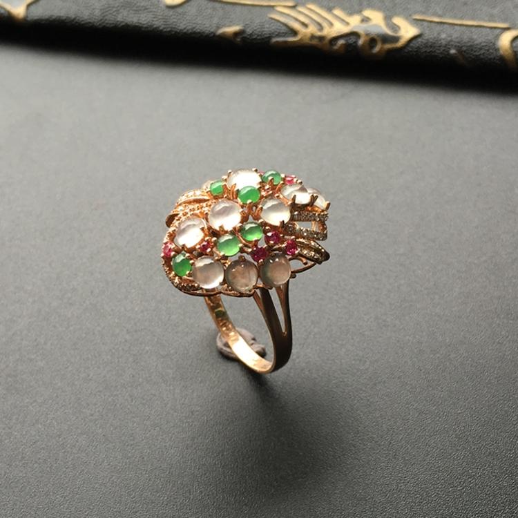 冰种白色/绿晴水镶玫瑰金伴镶碎钻花型戒指第1张