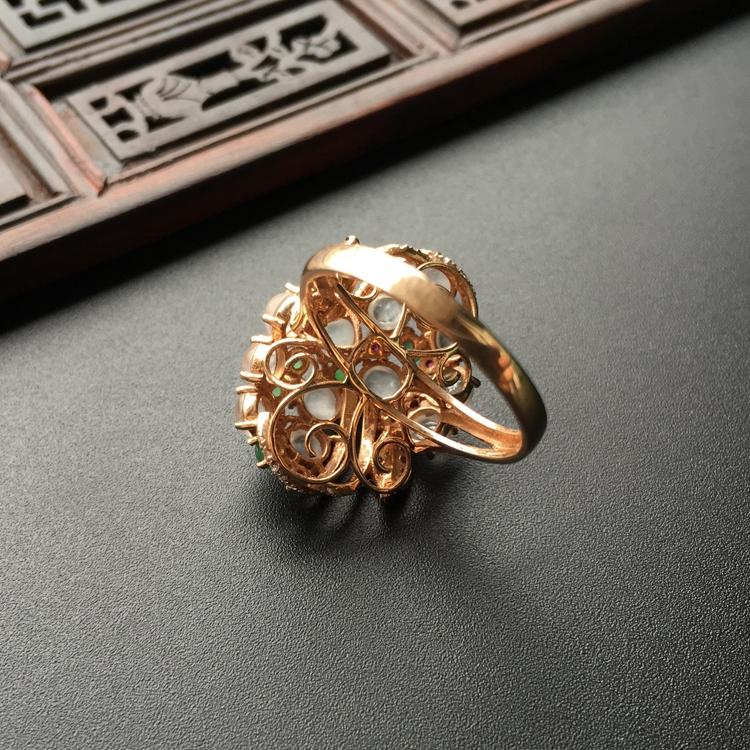 冰种白色/绿晴水镶玫瑰金伴镶碎钻花型戒指第4张