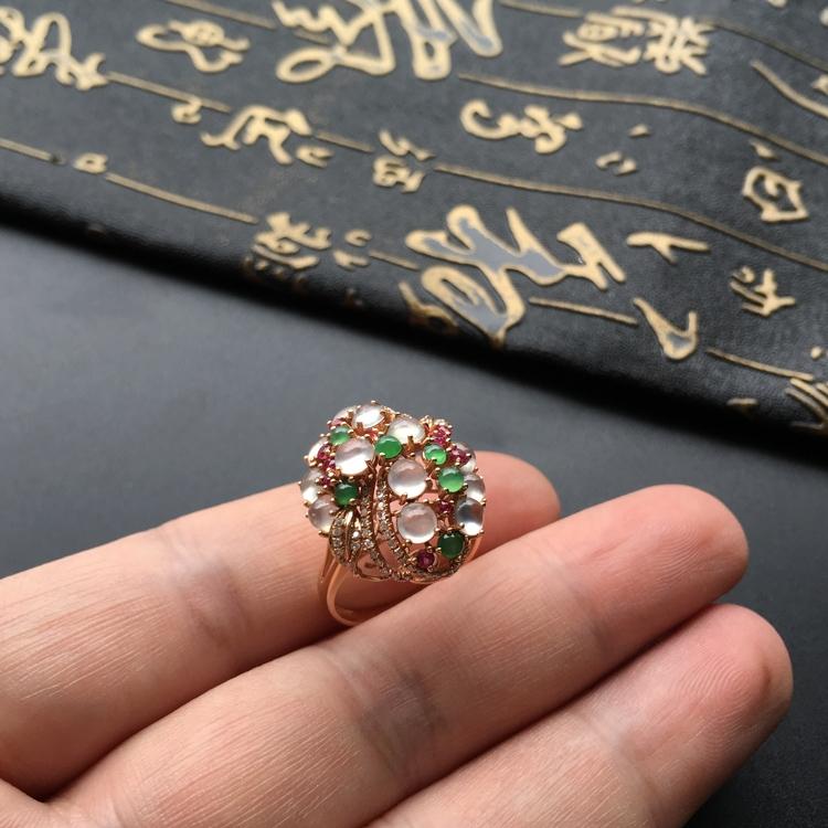 冰种白色/绿晴水镶玫瑰金伴镶碎钻花型戒指第5张