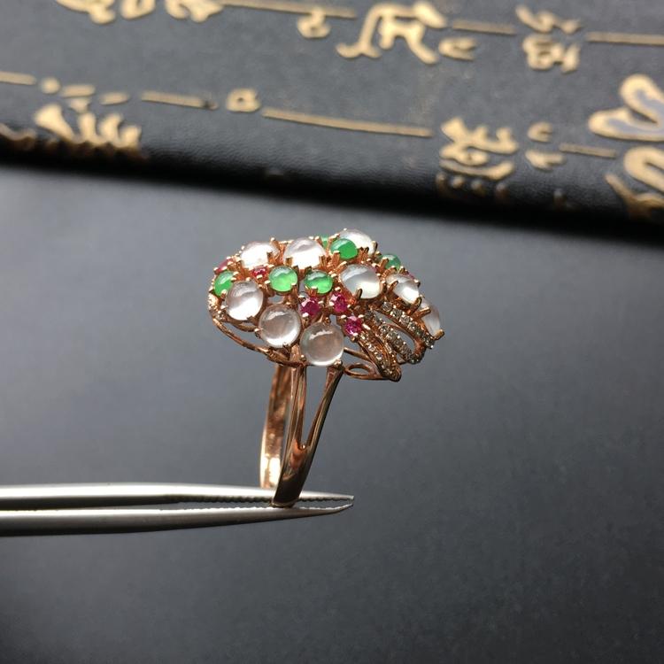 冰种白色/绿晴水镶玫瑰金伴镶碎钻花型戒指第6张