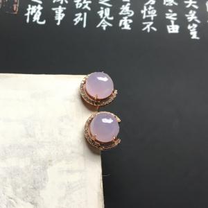 镶玫瑰金钻石糯冰种淡紫罗兰耳钉