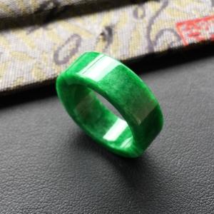 糯冰种翠绿指环/平安环挂件