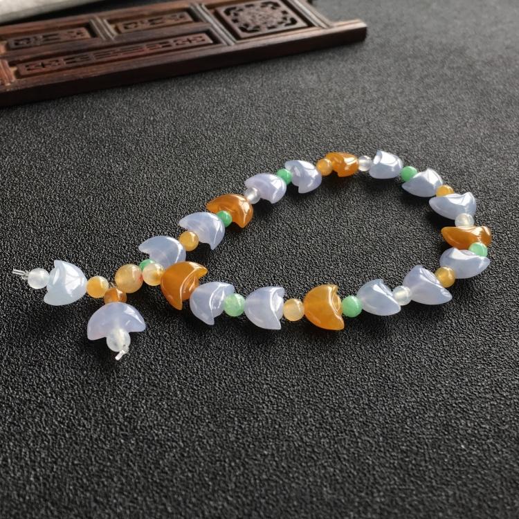 糯冰种紫罗兰/黄翡元宝手链