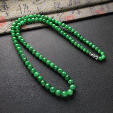 糯冰种廯加绿圆珠项链