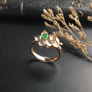 冰玻种/冰种无色/翠色镶玫瑰金钻石花型戒指