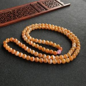 糯冰种红黄翡圆珠项链/108佛珠