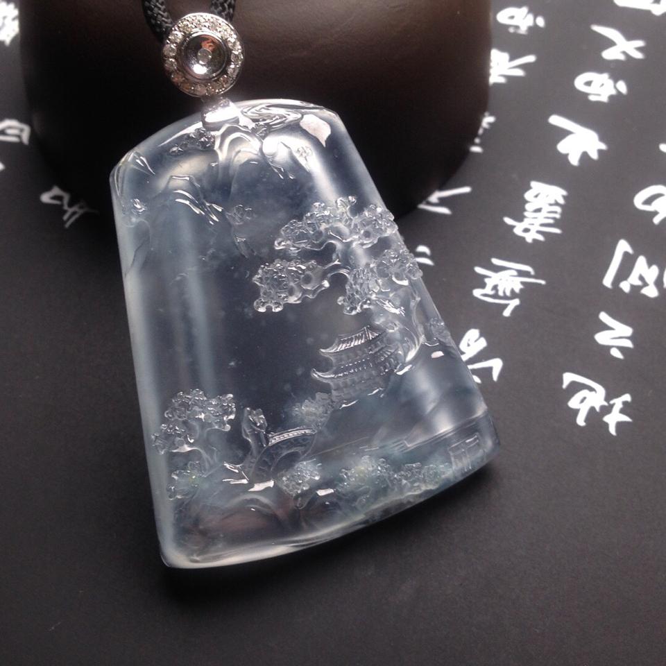 冰玻种山水牌挂件翡翠