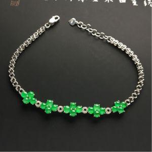 镶白金钻石冰种翠色/绿晴水手链