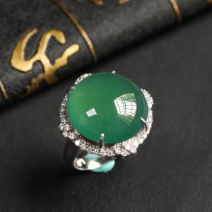 镶白18K金钻石冰种晴水戒指/胸坠两用款