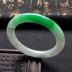 糯冰种飘阳绿圆条手镯(54.5mm)