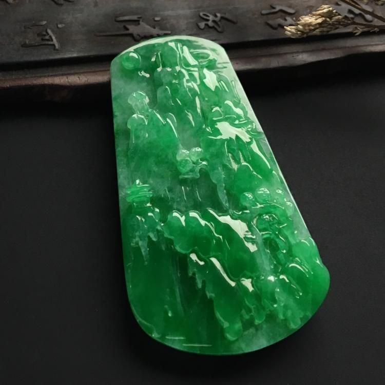 糯冰种阳绿山水牌挂件