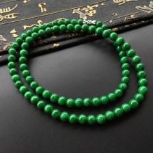 糯冰种浓绿圆珠项链/手链