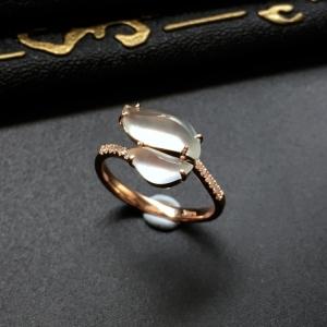 冰种晴水镶玫瑰金随形戒指