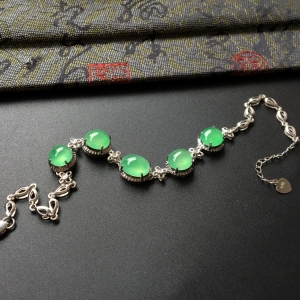 冰种绿晴水镶白金钻石手链