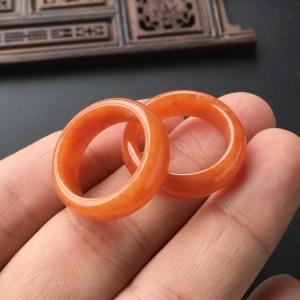 糯冰种红翡指环(一对)