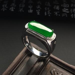 镶白金钻石冰种深绿马鞍戒指(男戒)