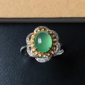 镶黄/白18K金钻石冰种晴水蛋面戒指